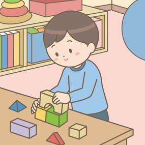 リハビリをしている学童のイラスト