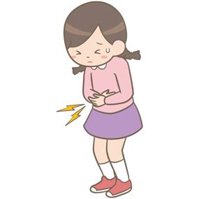 腹痛を訴える学童(女子)のイラスト