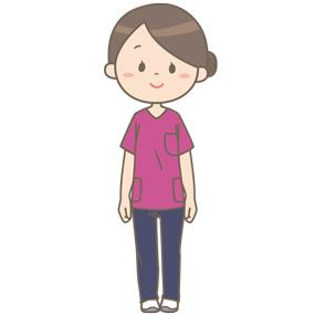 えんじ色のスクラブを着た看護師のイラスト