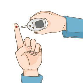血糖測定器を用い、自分で血糖値を測定しているイラストです。指先を穿刺し、センサーに血液を吸い取っています。