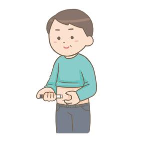 インスリン自己注射をする男性のイラスト