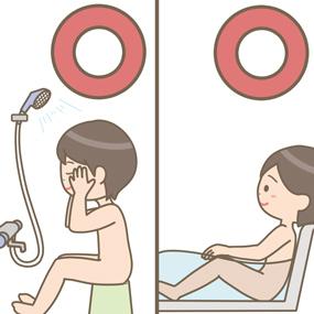 シャワーと半身浴は行って良いことを示すイラスト