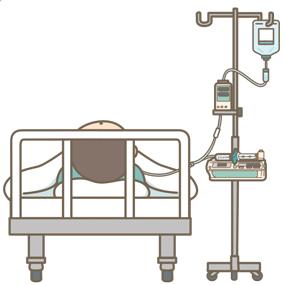 サイフォニング現象を説明するためのシリンジポンプの位置を示したイラスト