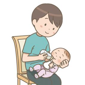 お父さんが赤ちゃんに哺乳瓶で授乳しているイラスト