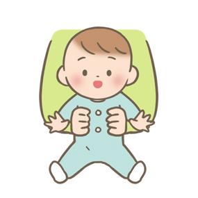 支えられて座ることが出来る赤ちゃんのイラスト