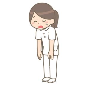 うなだれている看護師のイラスト(全身)