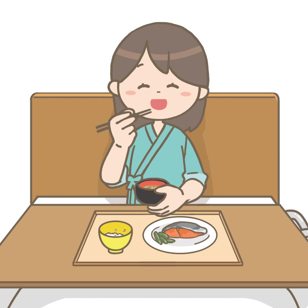 笑顔で食事をする女性患者さんのイラストフリー素材看護roo