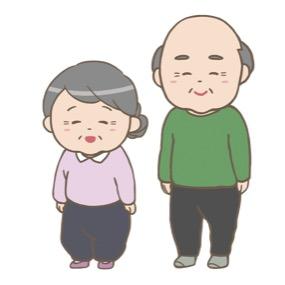 にっこり笑っているおじいさんとおばあさんのイラスト