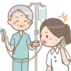点滴を自己抜針し笑顔で報告する患者と驚く看護師のイラスト