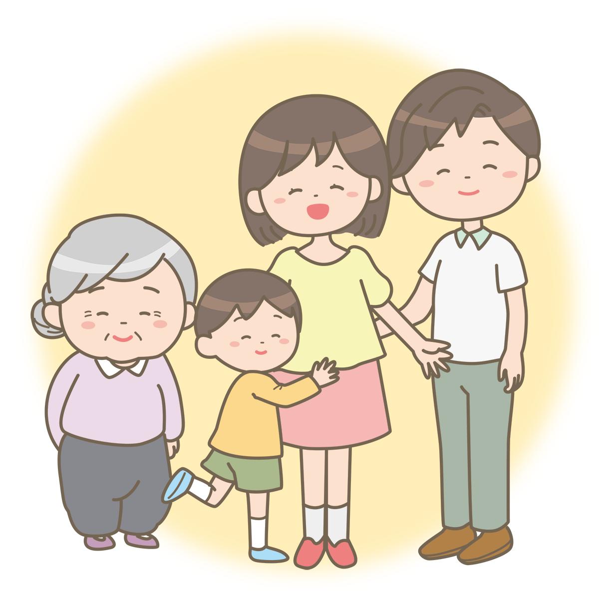 笑顔で立っている家族のイラストフリー素材看護rooカンゴルー