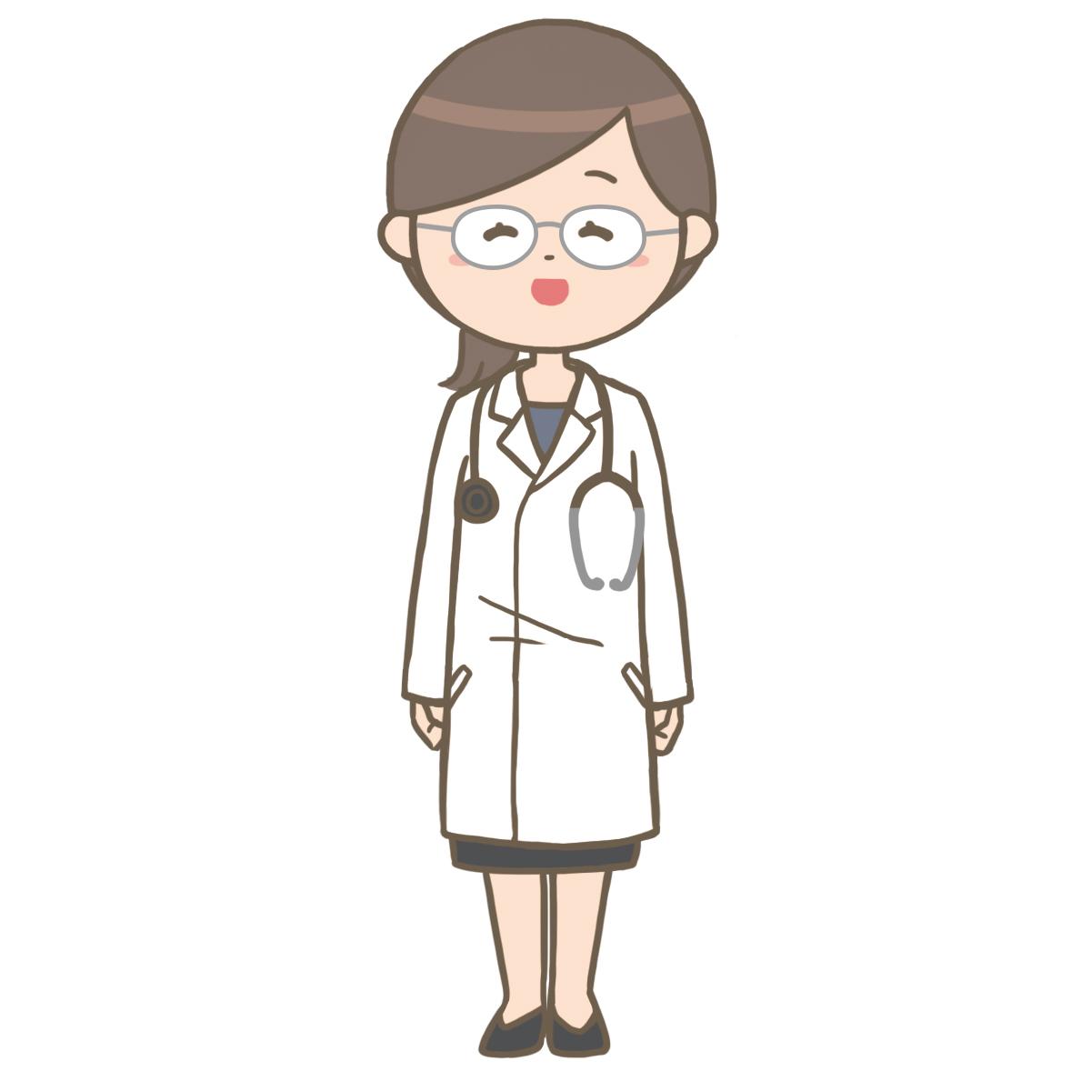 笑顔の女性医師(メガネ)のイラスト