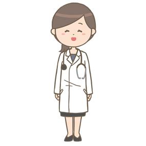 笑顔の女性医師(ロングヘア)のイラスト