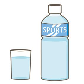 スポーツドリンクのペットボトルと注がれたグラスのイラスト