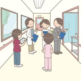 医療安全対策のため、多職種のスタッフが院内のラウンドをしているイラスト