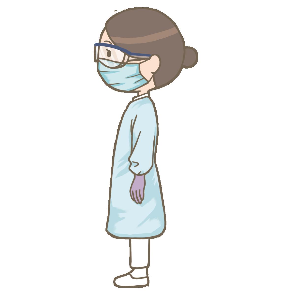 横向きで長袖のガウンを着た看護師のイラスト フリー素材看護roo