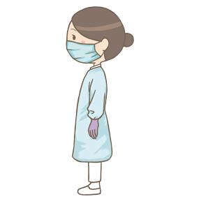 横向きで長袖のガウンを着た看護師(ゴーグル無し)のイラスト