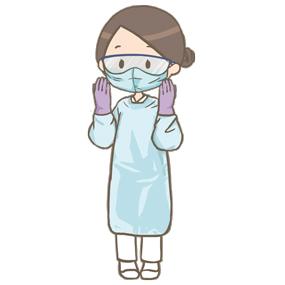 個人防護具(PPE)を装着した看護師のイラスト