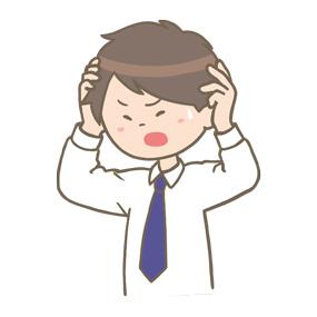 ストレスで頭を抱える男性のイラスト