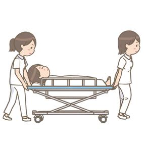 看護師2名で患者さんをストレッチャーで運ぶイラスト