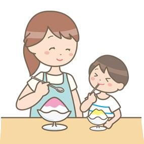 お母さんと子どもがかき氷を食べているイラスト