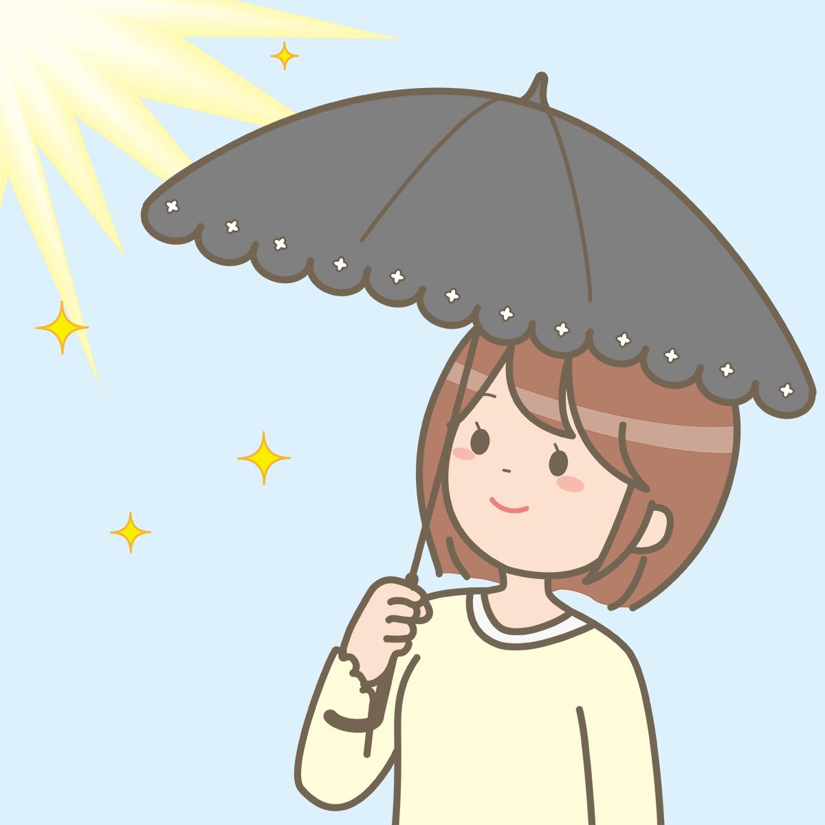 日傘をさす女性のイラストフリー素材看護rooカンゴルー