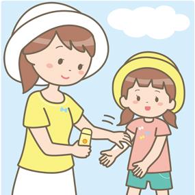 日焼け止めを塗る親子のイラスト