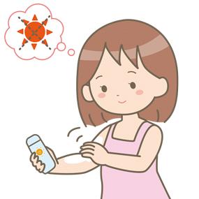 日焼け止めを塗る女の子のイラスト