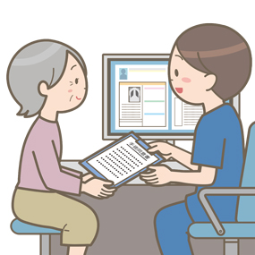 手術前に医師が患者にインフォームドコンセントをし、手術同意書を渡すイラスト