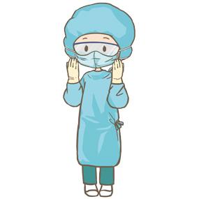 ガウン、マスク、手袋、ゴーグルを身につけた手術室(オペ室)看護師のイラストです。※全身