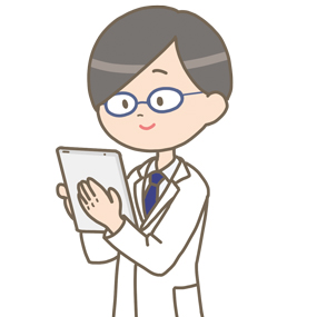 男性医師がタブレットを使っているイラスト