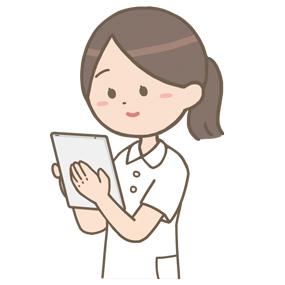 タブレットを使用している看護師のイラスト