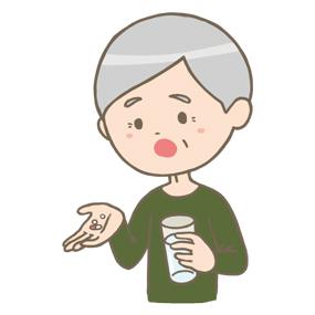 薬を飲む高齢男性のイラスト