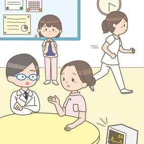 看護教員と看護師が忙しそうにしているイラスト