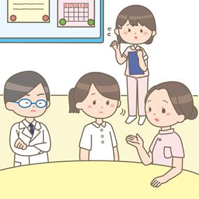 看護教員と看護師が話し合いをしているイラスト