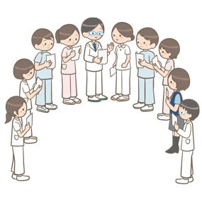 チーム医療で多職種のスタッフが集まっているイラスト