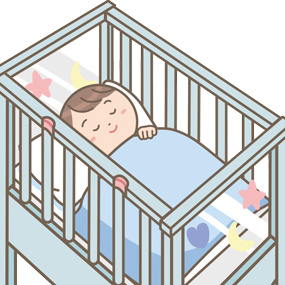 子供がサークルベッドで眠るイラスト