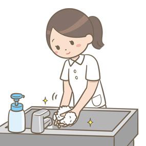 看護師が手洗いを行うイラスト