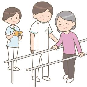 リハビリをしている患者さんの様子を見学している看護学生のイラストです。