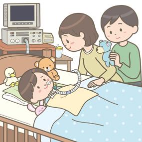 在宅で人工呼吸器と経管栄養をしている幼児(男の子)のイラスト
