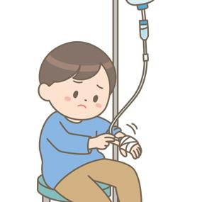 点滴を嫌がって抜こうとする幼児(男の子)のイラスト