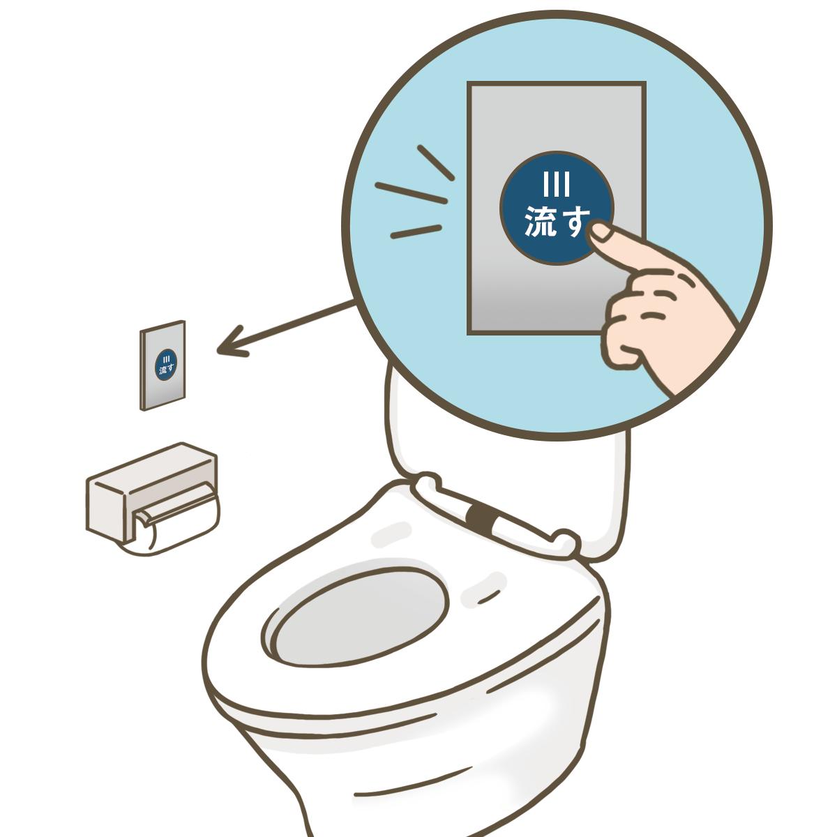 洗浄ボタン式のトイレのイラストフリー素材看護roo