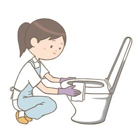 看護師がトイレの掃除をしているイラスト