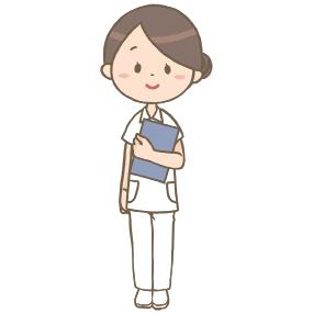 お団子ヘアの看護師のイラスト
