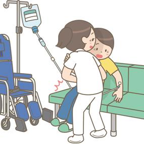 車椅子から椅子に移乗する際、誤って抜針してしまうイラスト