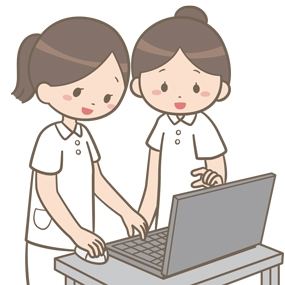 看護師が電子カルテを2人で確認しているイラスト