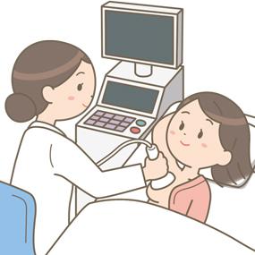 乳がんの検診で超音波(エコー)検査を行うイラスト