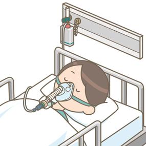 ベンチュリーマスクをつけている患者さん(男性)のイラスト