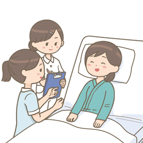 看護学生に指導をしているベテラン看護師のイラスト