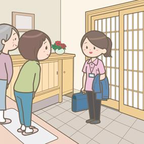 訪問看護師が家族に挨拶しているイラスト