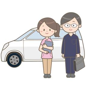 訪問看護に向かう訪問診療医と訪問看護師のイラスト